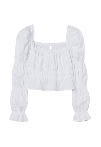 H&M white Cropped Puff-Sleeved Top 373C8AA9C49B7CGS_1