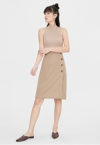 Pomelo brown Tortoise Side Button Skirt - Brown 50725AAB4117C0GS_1