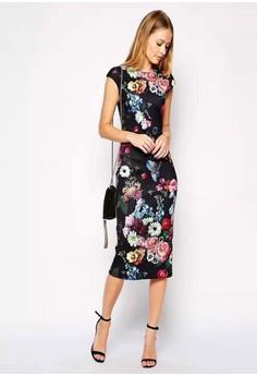 O-Neck Floral Mid-Calf Bodycon Dress