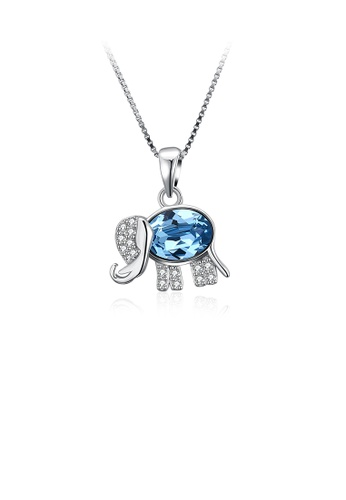 Glamorousky white Bright Cute Elephant Pendant with Blue Austrian Element Crystal and Necklace 9ABFAACD25B9D0GS_1