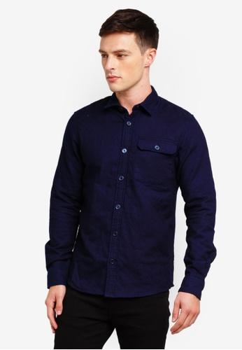 Only & Sons 海軍藍色 菱格紋襯衫 EC757AA9C5BAB3GS_1