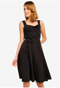 4687a0e1 ZALORA black Bow Detailed Fit And Flare Dress DFBCCAA5960D41GS_1