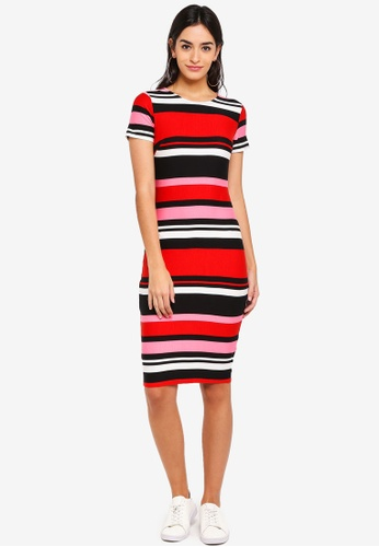 Dorothy Perkins multi Petite Stripe Bodycon Dress B9CC9AA73EEF2AGS_1