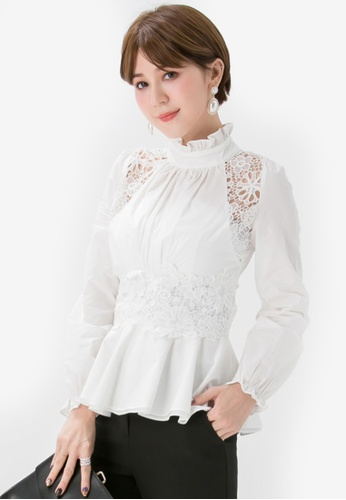 YOCO white Victorian Lace Blouse B1313AAA7AB096GS_1