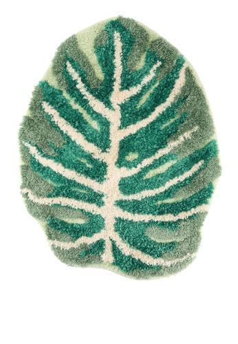 Milliot & Co. green Brodic Leaf Print Floor Mat 403B5HL7DDF85BGS_1