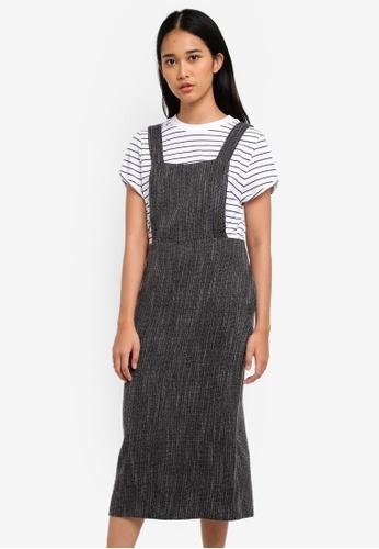 TOPSHOP grey Bouce Pinafore Dress DB0D8AA69024D1GS_1