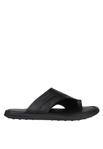 Hush Puppies Sandal Leather Pria Erran Cross Black