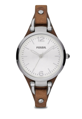 Fossil silver and brown Dark Brown/Silver Georgia Three Hand Leather Watch Tan ES3060 FO164AC71ZQAMY_1