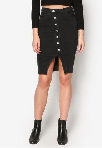 單排扣不esprit 童裝對稱丹寧短裙, 服飾, 裙子