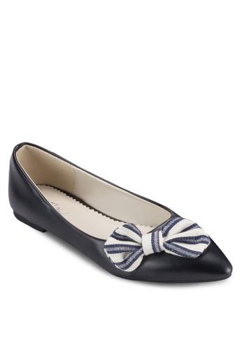 PLAY! Sallyesprit outlet hong kong 條紋蝴蝶結尖頭平底鞋, 女鞋, 鞋