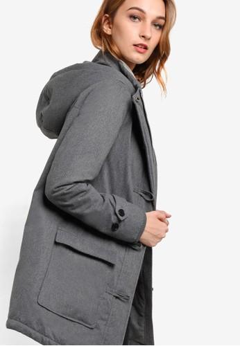 女性附襯連帽zalora 心得大衣, 服飾, 服飾