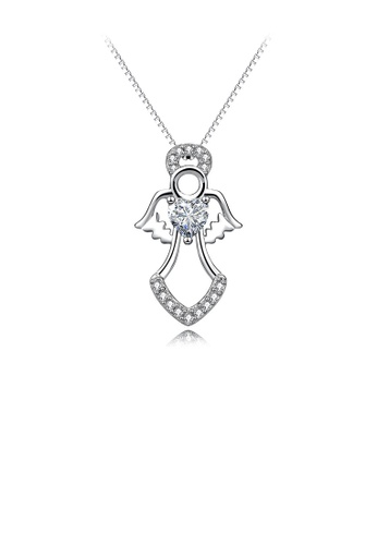 Glamorousky white 925 Sterling Silver Fashion Temperament Angel Pendant with Cubic Zirconia and Necklace E4204AC5234B01GS_1