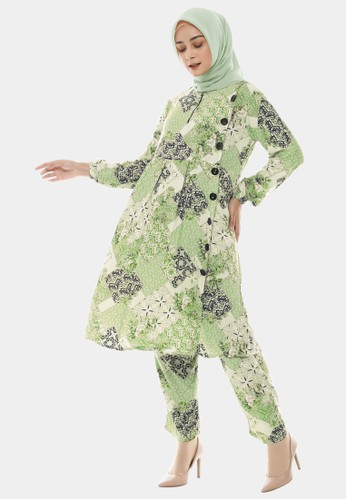 COTTON BEE green Set Tunic Ethnic Batik Tunik Dewasa - Baby Avocado 38D83AA19A973DGS_1