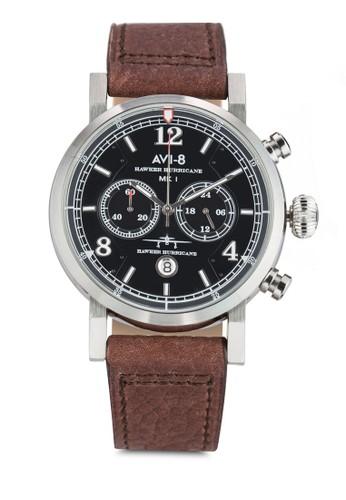 Hawkesprit門市er Hurricane 多功能計時皮革手錶, 錶類, 飾品配件