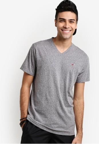 Hollister grey Basic V-Neck T-Shirt HO422AA12GPVMY_1