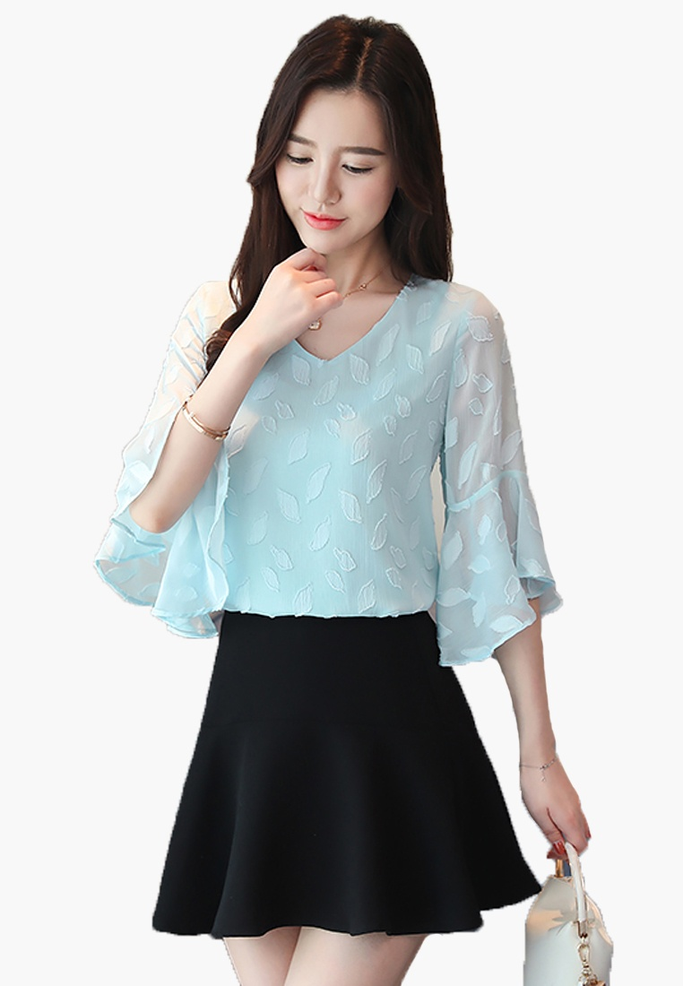 Light Sleeves blue Tops Halo Flared F4xHvqnp