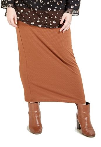 CURVA FABULOUS brown Ms Luna Pencil Skirt 65887AA8084B58GS_1