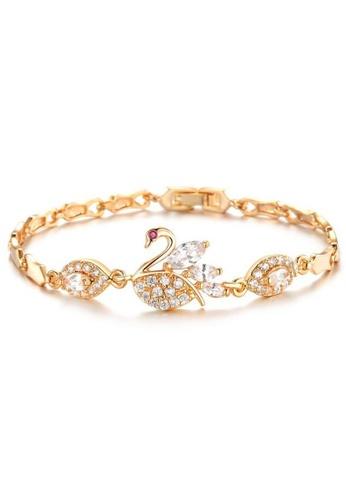 YOUNIQ gold YOUNIQ Swan Lake GemStone 18K Gold Plated Bracelet 41B95ACD61984DGS_1
