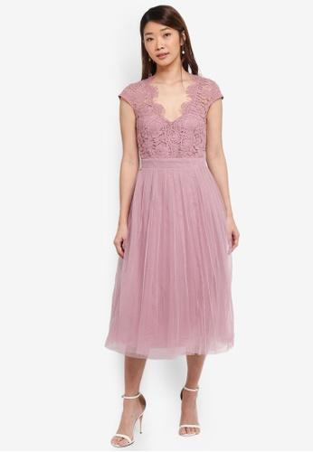 Little Mistress pink Lace Midi Dress 61D05AA9599EF5GS_1