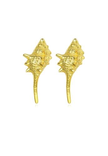 SUNRAIS gold High quality Silver S925 gold simple design earrings C1135ACF29EC35GS_1