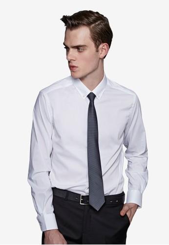 紳士魅力。彈力修身。素面精紡商務襯衫-MIT-11007-白esprit taiwan色, 服飾, 商務襯衫