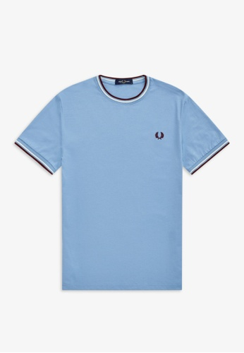 Fred Perry blue M1588 - TWIN TIPPED T-SHIRT - (SKY) 3ED44AA28BA2D6GS_1