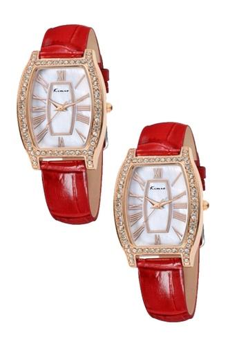 Eyki red and gold Bundle 2 Units Eyki Kimio KW516 Retro Style Ladies Leather Strap Rhinestone Gold Red EY078AC0RRKHMY_1