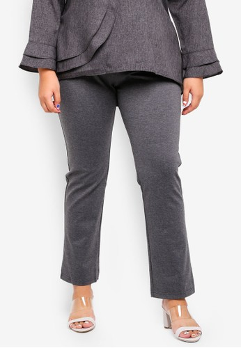 Gene Martino black Plus Size Straight Cut Pants FD87BAA3D2212FGS_1