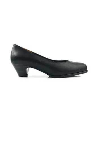 SHINE black SHINE Genuine Leather Round Point Toe Pumps AE34ESHC965C2DGS_1