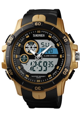 Digitec black Skmei - Jam Tangan Pria - Gold - Black Resin Strap - 1428-