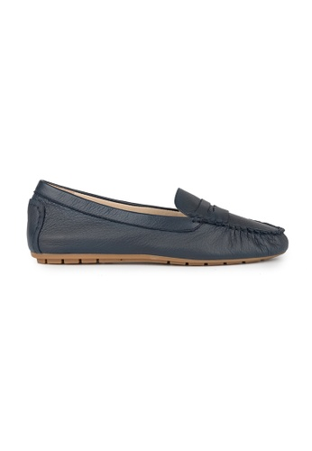 MAUD FRIZON navy Tumbled Leather Moccasin Penny Loafer 89BC6SHEEFF691GS_1