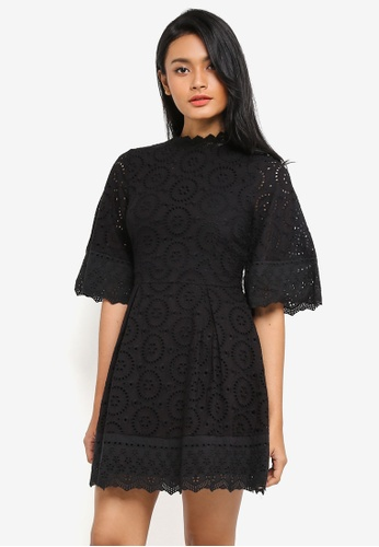 Preen & Proper black 3/4 Sleeve Broderie Anglaise Dress FC3F5AAE8DC7A9GS_1