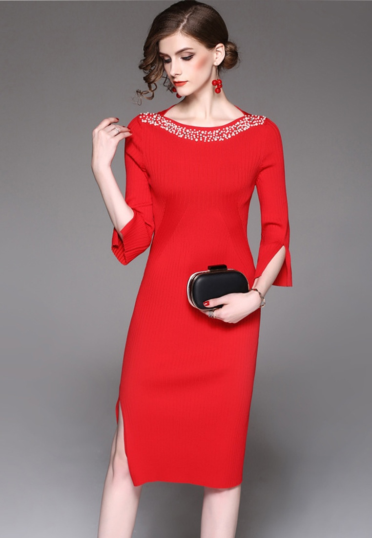 Mid Red F Dress W Sleeves One Red A092716R 2017 Midi Sunnydaysweety Piece qStwH6Hx