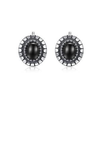 Glamorousky silver 925 Sterling Silver Simple Vintage Geometric Oval Obsidian Stud Earrings 9C66DAC16F70F1GS_1