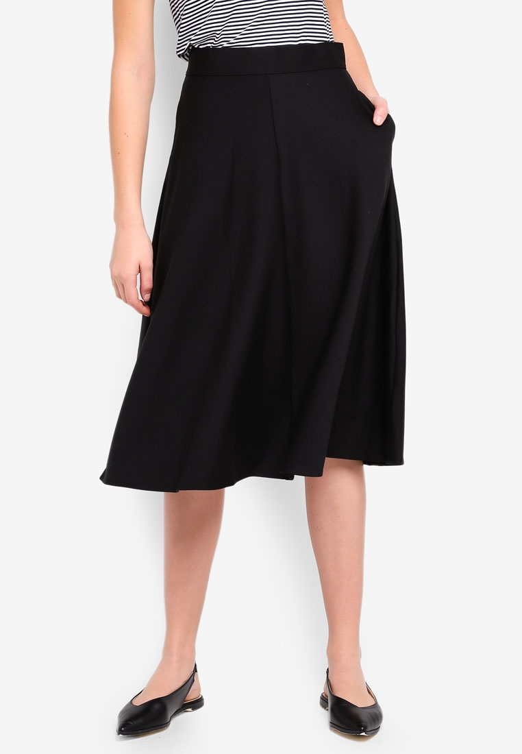 Midi Black V2 Skirt GAP True A 3 Line Sxwq1UHE