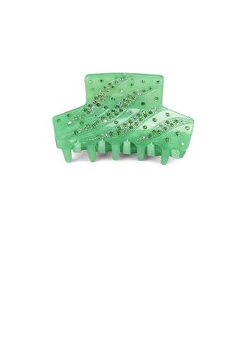 Glamorousky green Fashion and Elegant Green Pattern Geometric Hair Slide with Cubic Zirconia 7F88BACFFF7AFFGS_1