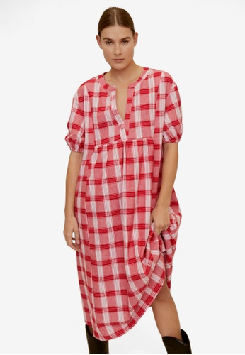 Mango red Checked Cotton Dress 2F539AAFB42912GS_1