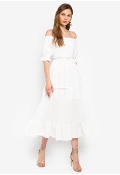b46a587e9a00c INDIKAH white Off Shoulder Crochet Trim Midi Dress 02BE8AA5AC67FFGS_1