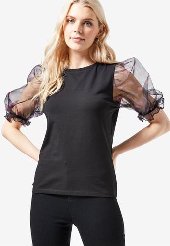 Dorothy Perkins black Black Organza Floral Printed Puff Sleeve Top 5DF93AADF9D654GS_1