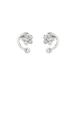 Glamorousky silver Trendy Flower Earrings with Silver Austrian Element Crystals C76B3ACE035B09GS_1