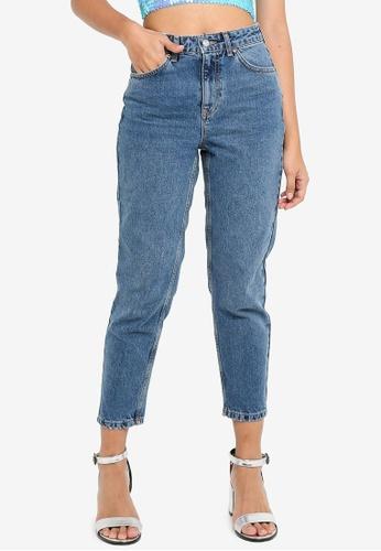 TOPSHOP navy Petite Mid Blue Mom Jeans 3B8FDAAF68E5B0GS_1
