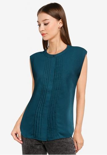ZALORA WORK green Cap Sleeve Blouse with Pleats 9AC7EAA68B8585GS_1