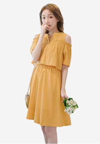 Eyescream yellow Cold Shoulder Layer Dress 3AA50AA25F3AC5GS_1