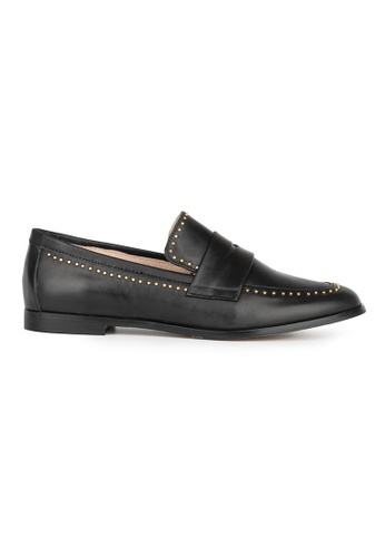 MAUD FRIZON black Calf Leather Loafer With Mini Stud Embellishment 80597SH2954194GS_1