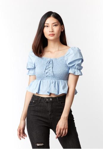 What To Wear blue Cotton Smocking Top in Blue DE598AA0DE3777GS_1