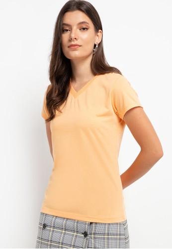 Tolliver orange V Neck Basic Short Sleeve Tee A18BFAAAAACCDAGS_1