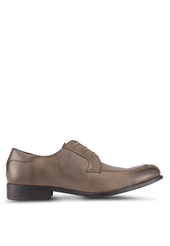 ZALORA grey and brown Faux Leather Lace Up Dress Shoes 0EE78SHEBC1F83GS_1