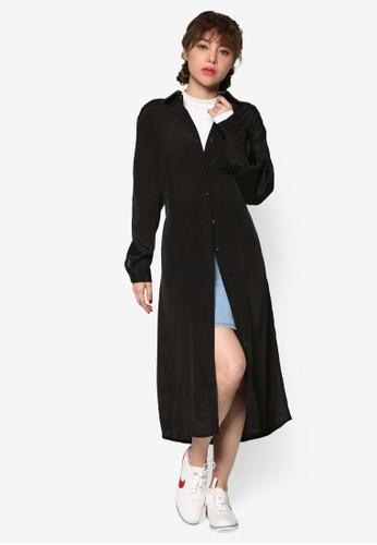 繫帶襯salon esprit 香港衫過膝襯衫連身裙, 服飾, 洋裝