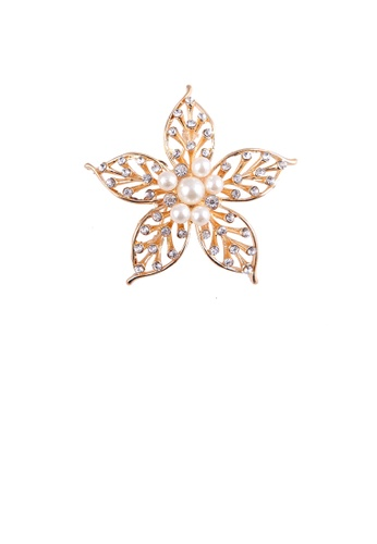 Glamorousky white Simple and Elegant Plated Gold Hollow Flower Imitation Pearl Brooch with Cubic Zirconia D0A29ACF4EA6A3GS_1