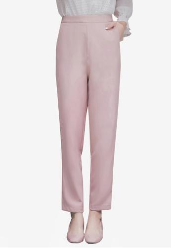 Yoco pink High Waist Tapered Pants 05606AA28E3B17GS_1